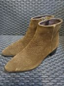 ONE PAIR OF LA REDOUTE COLLECTIONS STUDDED SUEDE ANKLE BOOTS IN KHAKI - SIZE UK 5.5. RRP £88.00.