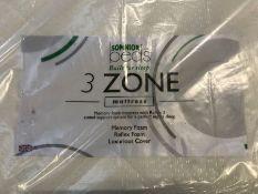 1 X DOUBLE SIZED SOMNIOR 3 ZONE MEMORY FOAM MATTRESS (135 X 200CM) / CONDITION REPORT: NO VISIBLE