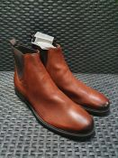 ONE PAIR OF GEOX TERENCE LEATHER CHELSEA ANKLE BOOTS IN BROWN - SIZE UNKNOWN APPROX UK 11 (LARGE).