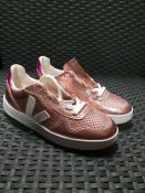 ONE PAIR OF VEJA ESPLAR LACE UP METALLIC TRAINERS IN PINK - SIZE UK 3. RRP £86.00 GRADE A* - AS NEW.