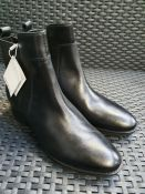 ONE PAIR OF GEOX FELICITY LEATHER ANKLE BOOTS WITH BLOCK HEEL IN BLACK - SIZE EU 38. RRP £105.00