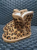 ONE PAIR OF KIDS' FUR LINED LEOPARD PRINT SUEDE BOOTS - SIZE UK 5.5 KIDS. RRP £32.00. GRADE A* -