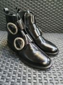 ONE PAIR OF JONAK DIAFO BUCKLED LEATHER BOOTS IN BLACK - SIZE EU 37. RRP £165.00 GRADE A* - AS