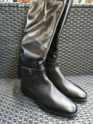 ONE PAIR OF TAMARIS LEATHER KNEE HIGH BOOTS WITH FLAT HEEL IN BLACK - SIZE EU 38. RRP £120.00