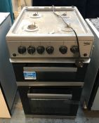 BEKO GAS COOKER - KDVG592S / RRP £349.99 / CONDITION REPORT: UNTESTED CUSTOMER RETURN. COSMETIC WEAR