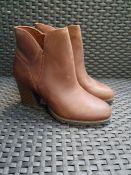 ONE PAIR OF COLLECTIONS BY CLARKS VERONA TRISH LEATHER HEELED BOOTS IN DARK TAN - SIZE UK 4. RRP £