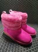 ONE PAIR OF UGG BOOTS FLUFF MINI QUILTED BOOTS WITH FUR CUFF IN BRIGHT PINK - SIZE UK 3. RRP £129.00