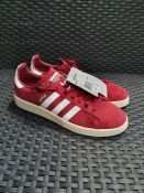 ONE PAIR OF ADIDAS CAMPUS SUEDE TRAINERS IN BURGUNDY/WHITE - SIZE 7.5 UK. RRP £80.00 GRADE A * -
