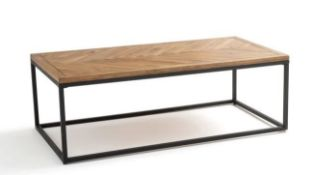 LA REDOUTE NOTTINGHAM COFFEE TABLE IN METAL & PINE HERRINGBONE PARQUET