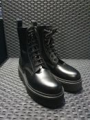ONE PAIR OF JONAK NELSON LEATHER LACE UP BOOTS IN BLACK - SIZE EU 37. RRP £99.00. GRADE A - AS NEW