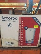 1 LOT TO CONTAIN A BOX OF 48 X ARCOROC PROFESSIONAL CONICAL BEER GLASSES 57CL