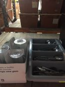 1 LOT TO CONTAIN A LARGE TRAY OF CUTLERY AND 6 GLASSES / USED