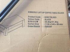 1 LOT TO CONTAIN A KIMBERLY LIFT UP COFFEE TABLE IN BLACK / CUSTOMER RETURN