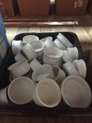 1 LOT TO CONTAIN A LARGE TRAY OF SOUP BOWLS, RAMAKINS, DIP BOWLS ETC