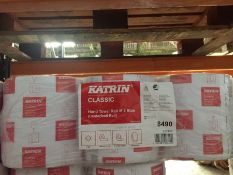 1 LOT TO CONTAIN A PACK OF 6 X KATRIN CLASSIC HAND TOWEL ROLL M2 BLUE - L6