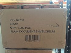 1 LOT TO CONTAIN A BOX OF 1000 PLAIN A5 DOCUMENT ENVELOPES -L6