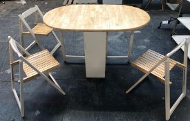 JOHN LEWIS ADLER BUTTERFLY DROP LEAF FOLDING DINING TABLE AND FOUR CHAIRS