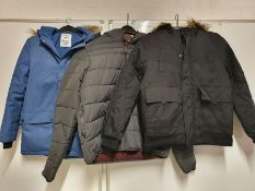 ONE LOT TO CONTAIN ONE BAG OF MIXED BOYS / MENS COATS/ JACKETS - 5 ITEMS. (ASSORTED SIZES AND