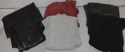 ONE LOT TO CONTAIN ONE BAG OF MIXED WOMENS TROUSERS - APPROX 15 ITEMS. (ASSORTED SIZES AND