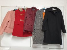 ONE LOT TO CONTAIN ONE BAG OF MIXED LADIES COATS - 5 ITEMS. (ASSORTED SIZES AND COLOURS, CUSTOMER