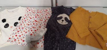 ONE LOT TO CONTAIN ONE BAG OF MIXED BABY CLOTHES - APPROX 20 ITEMS. (ASSORTED SIZES AND COLOURS,