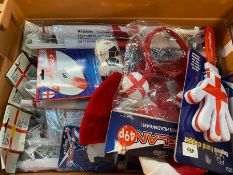 1 X TOTE TO CONTAIN AN ASSORTMENT OF ENGLAND FOOTBALL TEAM NOVELTY HATS , FACE PAINTS , TOYS ETC