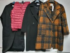 ONE LOT TO CONTAIN ONE BAG OF MIXED LADIES COATS/ JACKETS - 6 ITEMS. (ASSORTED SIZES AND COLOURS,