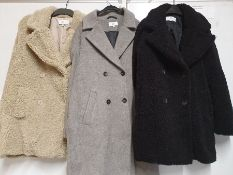 ONE LOT TO CONTAIN ONE BAG OF MIXED LADIES COATS/ JACKETS - 5 ITEMS. (ASSORTED SIZES AND COLOURS,