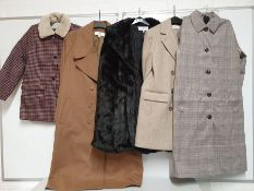 ONE LOT TO CONTAIN ONE BAG OF MIXED LADIES/ GIRLS COATS/ JACKETS- 5 ITEMS. (ASSORTED SIZES AND