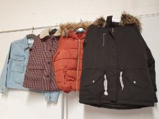 ONE LOT TO CONTAIN ONE BAG OF MIXED LADIES/ GIRLS COATS/ JACKETS - 4 ITEMS. (ASSORTED SIZES AND