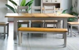ONE LOT TO CONTAIN A LLOYD PASCAL EXTENDING DINING TABLE AND 1 X BENCH IN GREY AND SOLID OAK