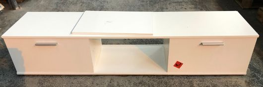 2-DOOR TV UNIT - WHITE / CONDITION REPORT: SOME MARKS, SOME LIGHT WEAR