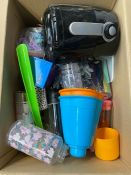 ONE LOT TO CONTAIN AN ASSORTMENT OF GOODS TO INCLUDE A TOWER AIR FRYER AND PLASTIC WATER BOTTLES (