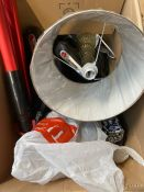 ONE LOT TO CONTAIN AN ASSORTMENT OF GOODS TO INCLUDE ONE GLASS LAMP AND 3 X HOOVER RECHARGABLE