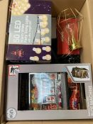 ONE LOT TO CONTAIN TOY BANDIT, 50 LED WARM LIGHT, A DOUGHNUT MAKER, A FAN HEATER AND A LAMP (