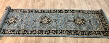 BARCLAY BLUE/BEIGE AREA RUNNER RUG / SIZE: 80 X 290CM BY WORLD MENAGERIE