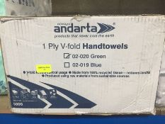 1 LOT TO CONTAIN A BOX OF ANDARTA 1 PLY V FOLD HANDTOWELS IN 02-020 GREEN - L7