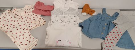 ONE LOT TO CONTAIN ONE BAG OF MIXED BABY GIRLS CLOTHING - APPROX 30 ITEMS. (ASSORTED SIZES AND