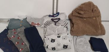 ONE LOT TO CONTAIN ONE BAG OF MIXED BABY BOYS CLOTHING - APPROX 25 ITEMS. (ASSORTED SIZES AND