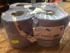 1 LOT TO CONTAIN A PACK OF 4 ROLLS OF TEX 2 PLY BLUE TEXTURED CENTREFEED TOILET ROLLS - L7