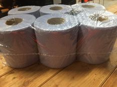 1 LOT TO CONTAIN A PACK OF 6 ROLLS OF TEX 2 PLY BLUE TEXTURED CENTREFEED TOILET ROLLS - L7