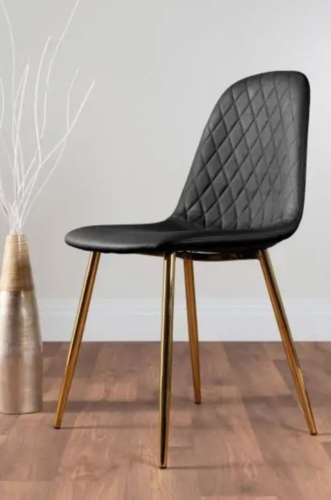 2 X CORONA GOLD LEG BLACK FAUX LEATHER DINING CHAIRS (SET OF 2)