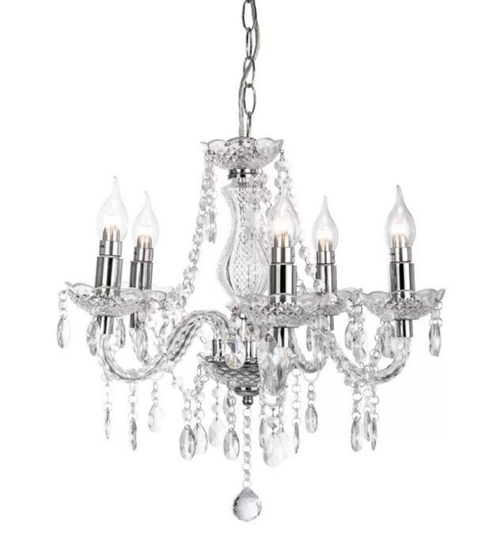 ROSDORF PARK® 5 LIGHT CANDLE-SHAPED PENDANT CHANDELIER WITH CRYSTAL DROPS,CLEAR
