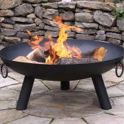 DAKOTA STEEL CHARCOAL/WOOD BURNING FIRE PIT / SIZE: 34CM H X 80CM W X 80CM D