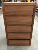 5-DRAWER DRESSER IN NATURAL WALNUT / SIZES: 650 X 450 X 1147MM / LIKE NEW