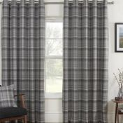 LEATHERMAN CARNOUSTIE EYELET BLACKOUT THERMAL CURTAINS / COLOUR: GREY, PANEL SIZE: 168 W X 137 D CM