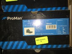 1 LOT TO CONTAIN A BOX OF PROMAN BLACK SAFETY BOOTS IN SIZE 8 L-8
