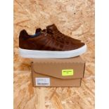K-SWISS MENS COURT FRASCO LEATHER SNEAKERS - UK SIZE 6/TAN