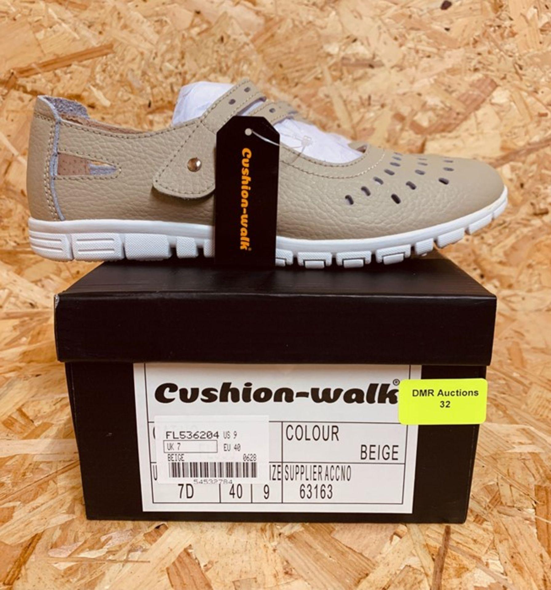 CUSHION-WALK LADIES LEATHER LINED SANDALS - UK SIZE 7/BEIGE