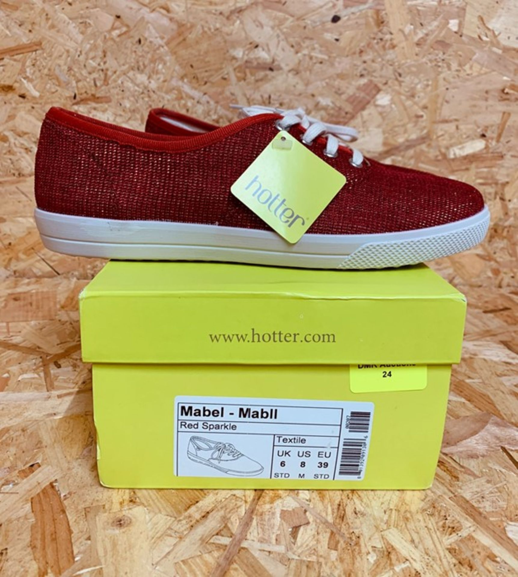 HOTTER LADIES MABEL TRAINERS - UK SIZE 6/RED SPARKLE